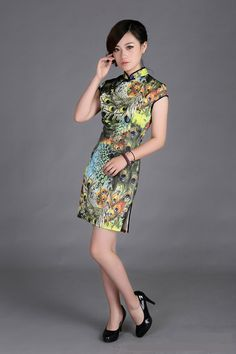 Classic Chinese Dress - Qipao Dress-The Dancing Peacock $59.99 (45,20 €)