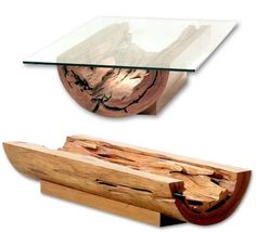 Canoa Coffee Table split wood log and glass