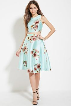 Forever 21 Contemporary - A woven sheeny A-line skirt with an allover floral print and an exposed back zipper. Matching top available.