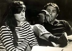 """Katharine Ross (Elaine) and Dustin Hoffman (Ben) on the set of director Mike Nochols' """"The Graduate""""."""