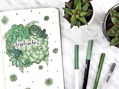 succulent themed bujo cover my september plan with me is up on my channel!! ✨ have you guys seen it yet?