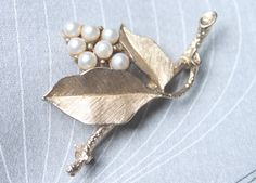 Sarah Coventry Brooch Vintage Brooch Leaf Brooch by TheRubyPosy