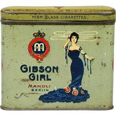 Old c1920 GIBSON GIRL High-Class Cigarettes Tin Box