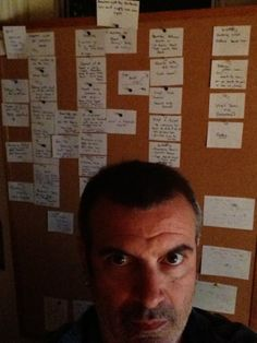A haunted writer with index card outline for a TV pilot - you should have seen him before the outline!