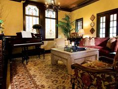 Love the stain glass windows in 1920s home  TRADITIONAL LIVING ROOM