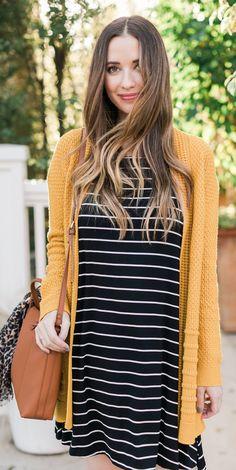 #spring #fashion /  Mustard Cardigan / Black Striped Dress / Camel Leather Shoulder Bag