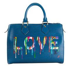 Louis Vuitton Hand Painted Blue Epi Speedy Bag