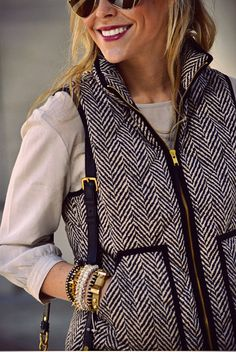 bought this exact vest from JCrew because i saw people wear it with plaid and LOVED the mix. so cute and still obsessed.