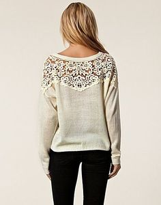 Adorable sweater – upcycle an old sweater, cut out the upper portion & replace by sewing in some pretty lace!