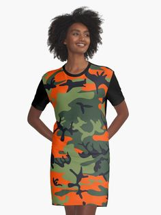 'Camouflage Graphic T-Shirt Dress by iopan Design Products, Camouflage, Chiffon Tops, Duvet Covers, Classic T Shirts, Cold Shoulder Dress, Canvas Prints, Shirt Dress, Dresses