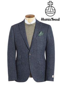 Buy Harris Tweed Blue Herringbone Tailored Fit Wool Jacket from the Next UK online shop