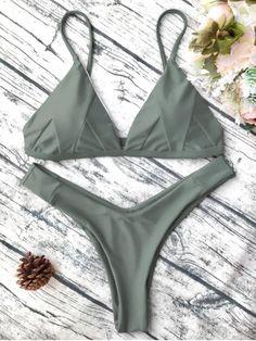 $14.99 Soft Padded Cami Bikini Set - ARMY GREEN S