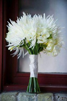 Pretty Wedding Bouquet Of White Spider Mums, White Mini Orchids & White/Yellow Freesia××××