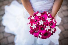 Bruidsfotografie bruidsboeket, roze bloemen