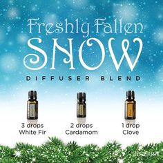 OK so it's nearly Spring but I couldn't resist posting this Freshly Fallen Snow diffuser recipe! Using Essential oils White Fir, Cardamon & Clove. www.hayleyhobson.com
