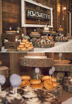 How about donuts, cupcakes and pies on the dessert bar? - Rustic Wedding Party I. How about donuts, cupcakes and pies on the dessert bar? - Rustic Wedding Party I. How about donuts, cupcakes and pies on the dessert bar? Deco Buffet, Rustic Buffet, Food Buffet, Rustic Dessert Tables, Rustic Candy Bar, Buffet Ideas, Dream Wedding, Wedding Day, Chic Wedding