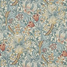 Golden Lily Wallpaper - Slate/Manilla - William Morris & Co Archive Wallpapers Collection William Morris Wallpaper, William Morris Art, Morris Wallpapers, Lily Wallpaper, Pattern Wallpaper, Wallpaper Designs, Designer Wallpaper, Wallpaper Backgrounds, Golden Wallpaper