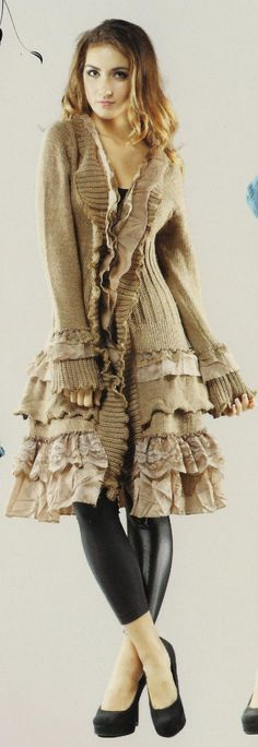 Tattered Rose: Victorian Inspired Sweater-coats. [Lengthened with added sweater and lace ruffles. myb]:
