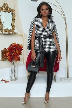Houndstooth Fabric, Cape Jacket, 20th Century Fashion, Fall Jackets, Leather Leggings, Dress To Impress, Fall Outfits, Going Out, Stylish