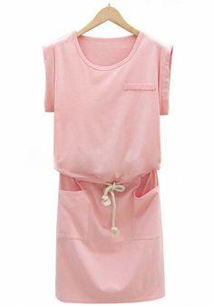 Pink Plain Drawstring Sleeveless Wrap Dress
