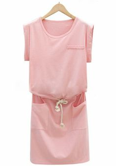 Pink Plain Drawstring Sleeveless Wrap Dress