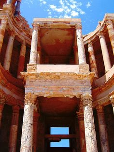 Sabratha roman ruins in Libya. Sabratha became part of the short-lived Numidian Kingdom of Massinissa before being Romanized and rebuilt in the 2nd and 3rd centuries AD. The Emperor Septimius Severus was born nearby in Leptis Magna, and Sabratha reached its monumental peak during the rule of the Severans