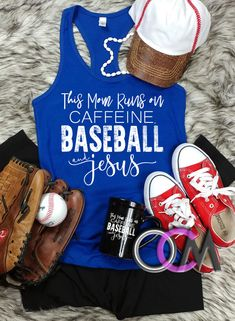 This Mom Runs on Caffeine Baseball & Jesus Tank, Baseball Mom Shirt, Baseball Mom Tank Top, Jesus Shirt- Racerback - One Crafty Momma Baseball Mom Tank Top, Cheap Baseball Caps, Baseball Dugout, Baseball Tips, Baseball Uniforms, Baseball Photos, Baseball Shirts, Football, Baseball Injuries