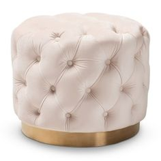 Lend an alluring English-parlor touch to your interior design with the Baxton Studio Valeria Upholstered Ottoman . This drum-shaped ottoman is upholstered. Ottoman Stool, Fabric Ottoman, Upholstered Ottoman, Ottoman Decor, Settee Sofa, Small Round Ottoman, Gold Furniture, Banquettes, Interiors