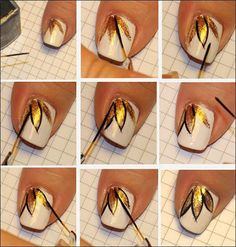 Whit And Gold Autumn Nails Tutorial nails colorful nails nail art diy nails nail designs manicures autumn nails nail tutorials nail styles Latest Nail Art, Trendy Nail Art, Nail Art Diy, Easy Nail Art, Diy Nails, Nail Art Designs 2016, Diy Nail Designs, Simple Nail Designs, Pretty Designs