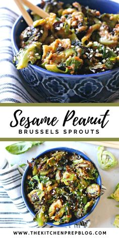 The spicy peanut butter sauce glazing these Sesame Peanut Brussels Sprouts gives them a sweet and savory glaze that makes them seriously hard to resist! Sprout Recipes, Vegetable Recipes, Vegetarian Recipes, Cooking Recipes, Healthy Recipes, Side Dish Recipes, Asian Recipes, Dinner Recipes, Paleo Side Dishes