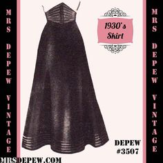 Vintage Sewing Pattern 1930's 1940's A-line Skirt in by Mrsdepew