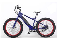 Bat-Bike Electric Bicycle Big Foot Electric Fat Tire Bike Metallic Blue + GIFT. 500W Bafang motor allows for easier climbing of hills as well as Intelligent Sine Wave Controller. Sanyo 36V 10.4Ah removable but beautifully integrated in the frame range 30+ miles depending on rider weight and terrain. 5 levels of pedal assist with full throttle override on all levels. Also has walk assist function and no power mode. Speed up to 20mph with throttle. 7 Speed Shimano Gear System, Tektro Front…
