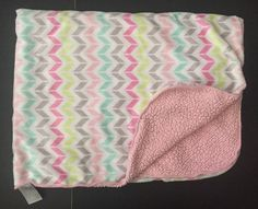Just Born Chevron Sharpa Blanket Pink White Mint Green Gray Security Blankey #JustBorn