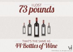 I lost 73 pounds! That is the same as 4 bottles of wine.