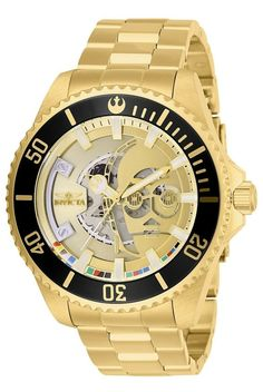 Invicta Men's Star Wars C-3PO Robot Stainless Steel Gold Dial Automatic Wrist Watch. Star Wars Lover Gift Ideas. Star Wars Gift Ideas For Him/Boyfriend/Husband/Brother/Son/Father. Star Wars Watches Ideas.