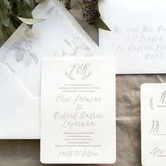 Calligraphy Grey and White Letterpress Wedding Invitation with Envelope Liner honey-paper.com #santaynezwedding #santabarbarawedding #sunvalleywedding #wreath