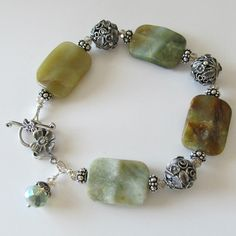 Handmade Beaded Jewelry And Lampwork Jewelry Designs - Pacificjewelrydesigns.com - Agate gemstone silver bracelet