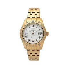 Women's Invicta  Stainless Steel 'Angel' Link Watch - Gold ($100) ❤ liked on Polyvore featuring jewelry, watches, gold, stainless steel jewelry, gold wristwatches, invicta wrist watch, stainless steel jewellery and yellow gold watches