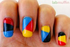 """From """"More Nail Polish"""" blog. Inspired by geometric designs on a textbook. Pretty!"""
