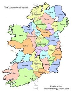 Distinctive, uncomplicated and free county map of Ireland, viewable on screen or download and print your own copy.