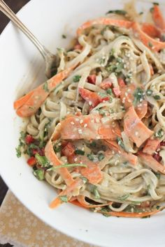 Cold Udon Noodle Salad with Tahini-Wasabi Dressing | www.bakeyourday.net
