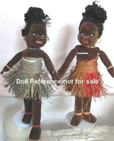 "1930s Wellings Island Girl cloth dolls 16"""