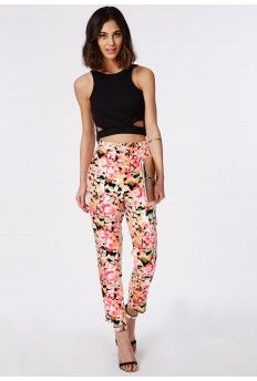 Neon Floral Print Trousers