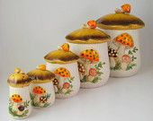 Sears Merry Mushrooms Ceramic Kitchen Canister Set, Retro 1970's Housewares my mom had these!!!!!!