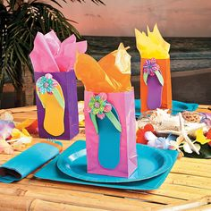 Impress your guests with a memorable party goodies. Click to learn how you can make these Flip Flop Treat Bags.