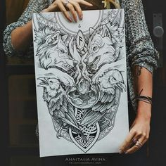 Best Tattoo Trends - Anastasia Avina Artist, tattoos sketch-master, also I make prints and illustr , click now. Hugin Munin Tattoo, Fenrir Tattoo, Norse Tattoo, Viking Tattoos, Tattoo Symbols, Celtic Wolf Tattoo, Viking Tattoo Design, 3d Tattoos, Body Art Tattoos