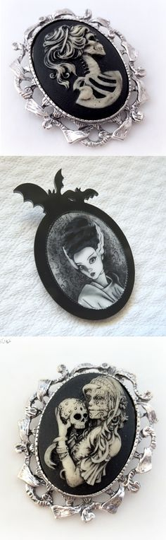 Shop goth cameo brooches at RebelsMarket!