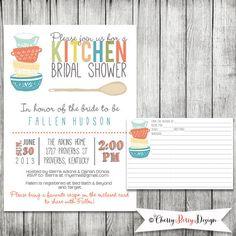 kitchen bridal shower invitation and recipe card digital file
