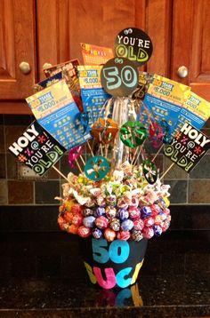 50th Birthday Bouquet. 50 Sucks! 10- $5.00 scratch-off lottery tickets