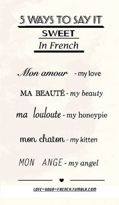 5 ways to say 'sweet' in French....